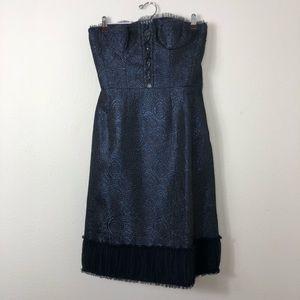 Badgley Mischka Navy Strapless Dress Size 8